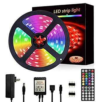 Segrass 16.4ft 5050 RGB Led Strip Lights,5M LEDRope Lights Color Changing with 20 Colors 8 Light,LED Light Strips Kit with 44 Keys IR Remote Controller and 12V Power Supply