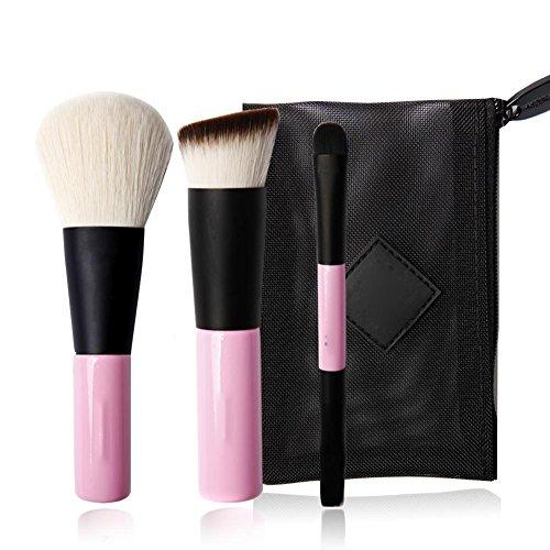 Brosse à maquillage mini-3 pièces portable, brosse à brosses + brosse à fondue + brosse à lèvres + brosse à ombres à paupières , pink