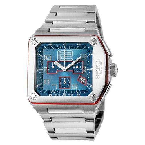 Breil Watch Logo CHR Blue/Red Details BRC (17) BW0392 - Reloj de Caballero de Cuarzo, Correa de Acero Inoxidable Color Plata