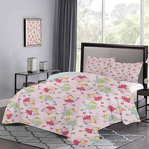 Yoyon dreiteiliges Bett Bettbezug Princess Fairy Pattern Magische Kinder Mädchen Fantasie Kinder Cartoon Hypoallergene Bettbezug So entzückend und vielseitig Rose Pink Mint Green Ringelblume