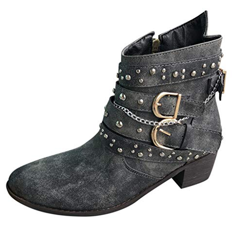 RQWEIN Fashion Cowboy Boots Women's Leather Western Ankle High Cowboy Motorcycle Riding Pointy Toe Moto Dress Boots Black