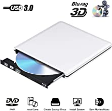 External Blu Ray DVD Drive 3D, USB 3.0 Optical Bluray DVD CD RW Row Burner Player Rewriter Compatible for MacBook OS Windows 7 8 10 PC iMac