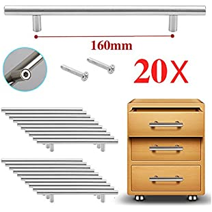 Reelva T Bar Handle Furniture Door Wardrobe Cupboard Cabinet Drawer Pull Handle Knobs (20 X T Bar hole Center 160MM):Eventmanager