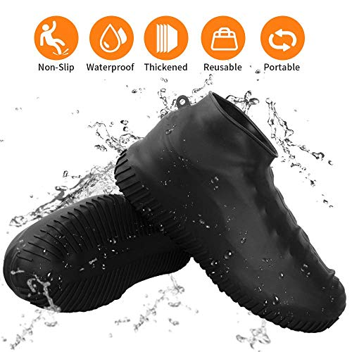 Waterproof Silicone Shoe Covers Reusable Foldable Anti-Slip Rain Shoe Covers Cycling Outdoor Shoe Covers for Men and Women (Black, Large)