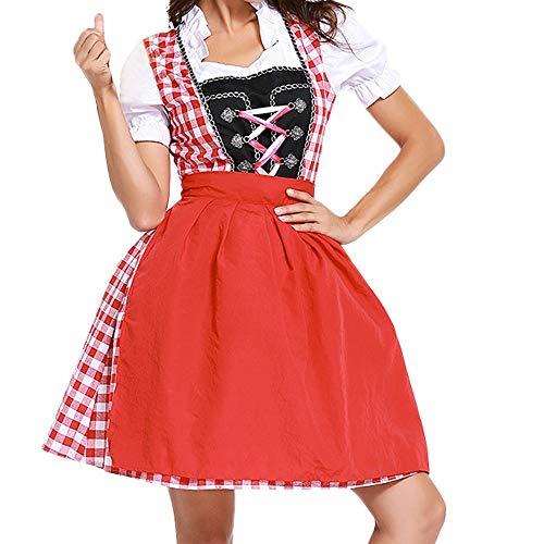 Sannysis Damen Oktoberfest Karneval Kostüm Dirndl Midi Kleid Trachtenkleid Bayerische Taverne Bar Maid Party Cosplay Traditionelles Dirndl Set (XL, Rot)