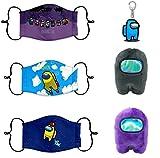 2 PCS Among Us Plush Stuff Animal Plushies Toys Merch Plushie + 3 PCS Among Us Kids Reusable Face Mask + 1PCS Among Us Keychain Plushies Toys Gifts for Game Fans Crewmate