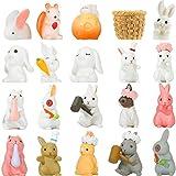 20 Piezas Adornos de Figuras de Conejito de Pascua Toppers de Magdalena de Tarta de Pascua, Figuras Lindas de Animal de Conejo, Colección de Figuras en Miniatura de Jardín de Primavera