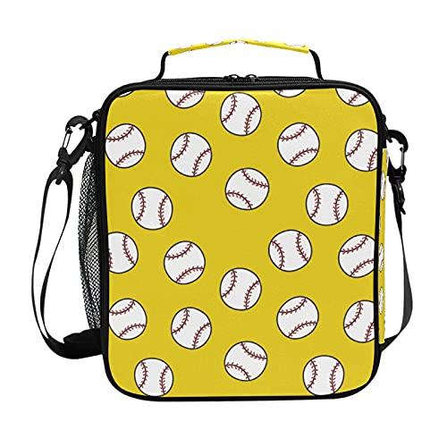 HaJie - Bolsa de almuerzo con diseño de pelota de béisbol con soporte para botellas para mujeres, niños, niñas, hombres, bolsa de trabajo térmica para el almuerzo
