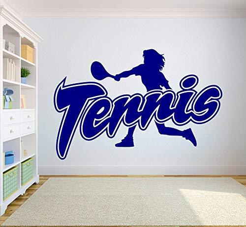 wZUN Calcomanías de Pared de Tenis decoración del hogar Pegatinas Deportivas Vinilo decoración de la habitación de los niños Cartel de Raqueta de Tenis de Dormitorio 63X40 cm