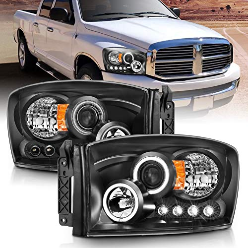 AmeriLite Black Projector LED Halo Replacement Headlights Set For Dodge RAM 1500 2500 3500 - Passenger and Driver Side