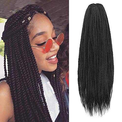 Box Braids Crochet Hair 7Packs/Lot 30Inch Crochet Box Braids Hair Synthetic Hair Braiding Hair Extensions (30 Inch, 1B)