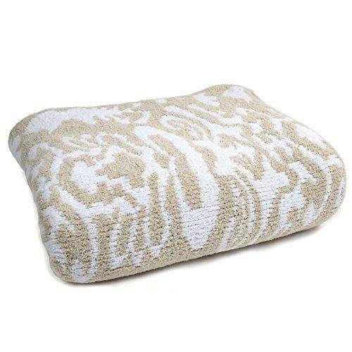 [カシウェア]Kashwere ダマスク 織柄 クイーン ブランケット モルト ホワイト Damask Patterned Queen Blanket Malt White QB-33-128-90 (旧品番:TB-02-128-90)[並行輸入品]
