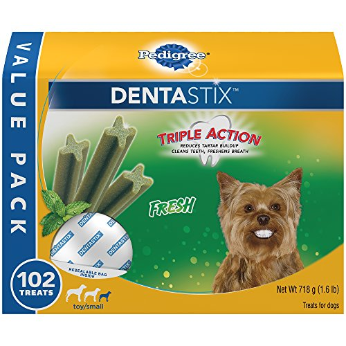 PEDIGREE DENTASTIX Dental Dog Treats for Toy/Small Dogs Fresh Flavor Dental Bones, 1.6 lb. Value Pack (102 Treats)