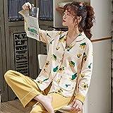 Pijama De Botones Mujer Set,Conjunto De Dos Piezas De Primavera Y Otoño Para Mujer, Ropa De Dormir De Manga Larga Con Estampado Bonito, Ropa De Dormir De Moda, Camisetas Con Botones, Pantalones, P