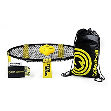 Spikeball 4 Ball Kit Includes Playing Net, 4 Balls, Drawstring Bag & Rule Book, Black/Yellow