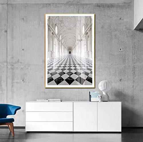 (Affischer och tryck) Europa Venaria kungliga slottet Affisch och tryck Kanvas Wall Art Bilder för vardagsrumgången Heminredning- (70X100cm) Ramlös
