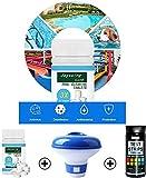 Duyifan Cloro Set Mantenimiento Agua Piscina | 100 Tabletas de Cloro + Dispensador de Cloro para Piscina Flotante + 100 Tiras Reactivas 7 en 1, Tabletas Limpiadoras de Piscinas Tabletas de Cloro