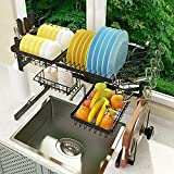 ADBIU Over The Sink (24'- 41' L) Dish Drying Rack (Expandable Dimension) Snap-On Design 2 Tier Kitchen Large Dish Drainer Stainless Steel Counter Storage Organizer