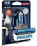 Philips 12342CVUBW Crystalvision Ultra H4 Lampada Fari per Moto, 1 Pezzo