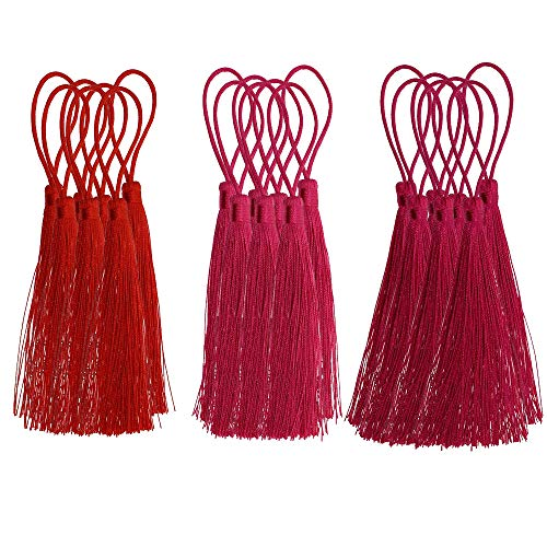 ZMYY 60 pcs Handmade Tassels Silky Soft Graduation Cap Tassel for Jewelry Making DIY Projects Bookmarks Keychain (red)
