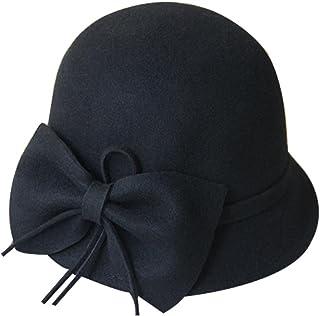 BLANCHO BEDDING La Lana de la Vendimia Sombrero de Fieltro de ala Rollo Hongo de Lana Bowknot Grande Billycock Negro