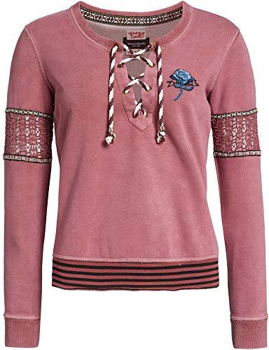 khujo Damen Sweatshirt SYLTA Pullover mit folkloristischen Borten und Spitze