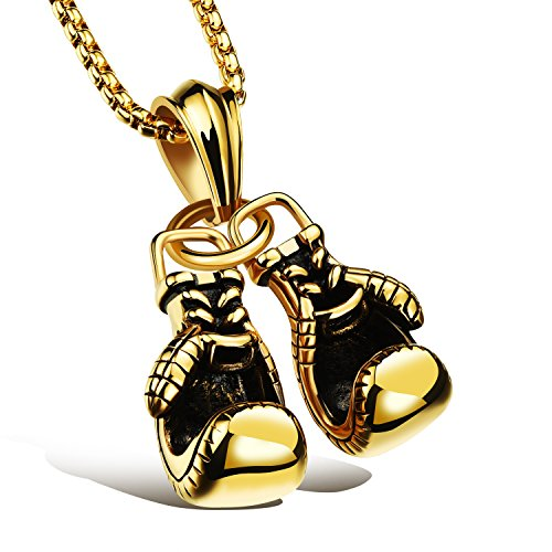 iLove EU Edelstahl Anhänger Halskette Gold Doppelt Boxhandschuhe Handschuhe Motorradfahrer Biker Herren,mit 55cm Quadrat Kette