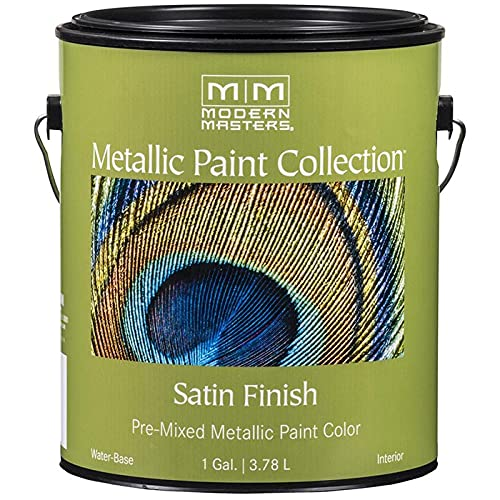 1 gal Modern Masters ME221 Warm Silver Metallic Paint Collection Water-Based Decorative Metallic Paint Pack of 1
