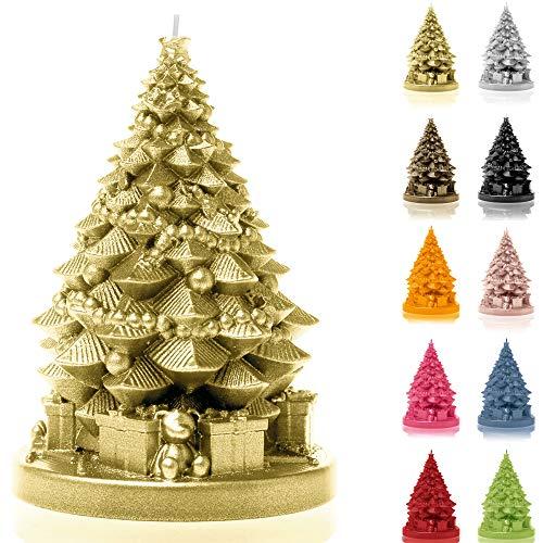 Candellana Kerze Weihnachtsbaum mit Geschenken   Höhe: 16 cm   Klassisches Gold   Brennzeit 35h   Weihnachten   Handgefertigt in der EU