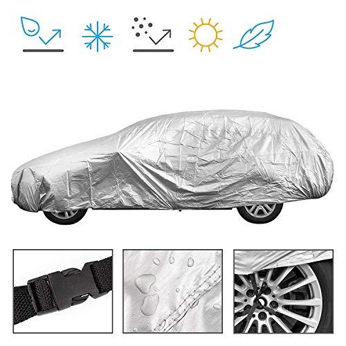 Minuma® Autoplane Größe L | für viele Autos und Modelle geeignet mit Gummizug im Saum und Sicherheitsschnalle für Wind | Autogarage Abdeckplane für Winter & Sommer | einfache Benutzung | Farbe: Silber