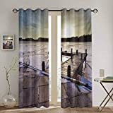 DONEECKL Winter Window Curtain Sunrise Above a Jetty on a Frozen Winter Lake with Ice and Snow Netherlands Holland for Living Room or Bedroom W84 x L96 Inch Multicolor