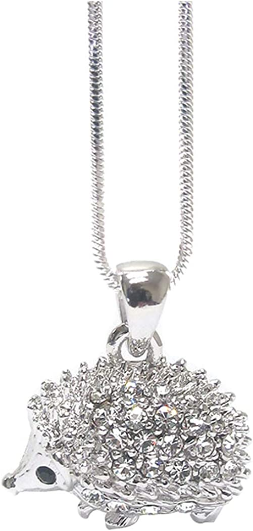 Fashion Jewelry ~ Crystal Hedgehog Pendant Necklace for Women Teens Girlfriends Birthday Gifts