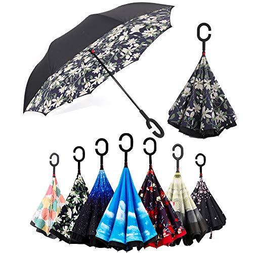 BP @ Regenschirm faltbar mit innenliegende Riverso umgekehrt sehr nützlich bei Regen Fenster Tattoos, Hände in Form von C Reverse Parasol freistehend der Griff Doppel Schicht winddicht Auto im Freien