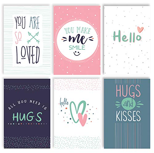 Thinking of You Hello Greeting Cards, Friendship Cards, 100-Pack, 4 x 6 inch, 6 Fun Modern Cover Designs, Blank Inside, by Better Office Products, Encouragement Appreciation Note Cards, with Envelopes
