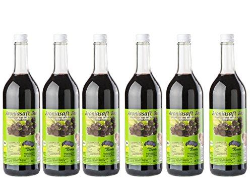 Aroniasaft BIO Direktsaft aus frischen Aroniabeeren 6x750ml - Schwarzen Apfelbeerensaft - Deutsche Landwirtschaft