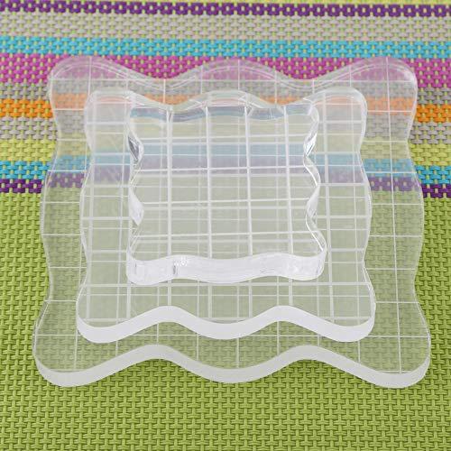 Bloques de sello acrílicos transparentes con líneas de cuadrícula, cuadrados con bordes de curva Herramientas de estampado esenciales para hacer manualidades de Scrapbooking,(5 * 5cm)