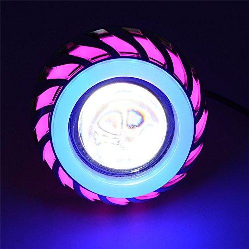 Andux Zone Angel Devil Eyes Moto/Auto Hi/Low Fascio LED Projector faro EMY-03 (Rosa/blu, 1 pezzo)