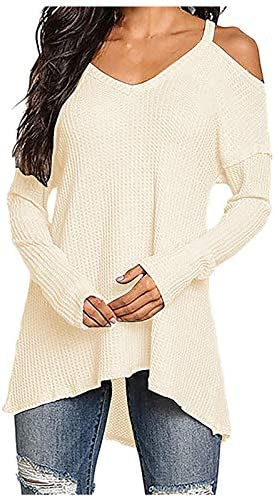 Forthery Women Sweater Cold Shoulder Sexy Ribbed Halter Hollow Back Pullover Balloon Sleeve product image