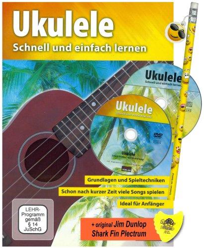 Libro para ukelele - fácil y rápido de aprendizaje en mega-juego con reproductor de CD ; DVD, Dunlop Shark Fin púas + divertido cool Smiley drosselung