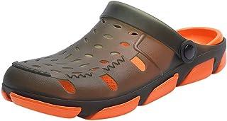 Mens Mules Slippers Hole Sandals Beach Clogs Open Back Anti-Slip Sliders Patchwork Slip-On Swimming Sandals Summer Men Sof...