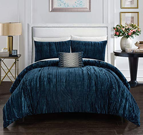 Chic Home Westmont 4 Piece Comforter Set Crinkle Crushed Velvet Bedding - Decorative Pillow Shams Included, King, Navy