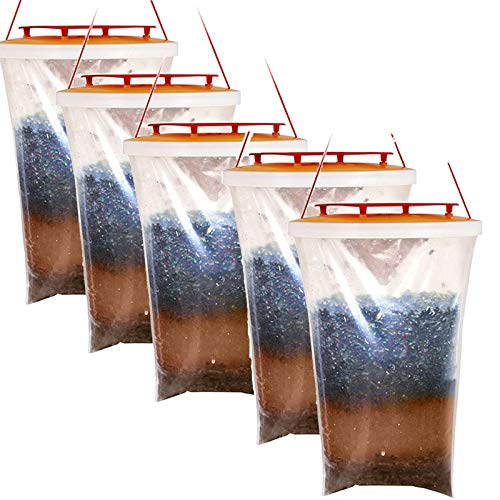 JIAMEI 5 pcs Fly Trap Outdoors,Fly Catcher,Fly Traps - Can Catch & Kill up...