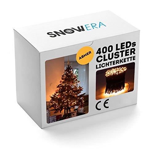 SnowEra 400er LED Galaxy Lichterkette / Weihnachtslichterkette für innen & außen mit Timer und Dimmfunktion – Lichtfarbe: Amber / Bernstein – Form: Cluster Lichterkette