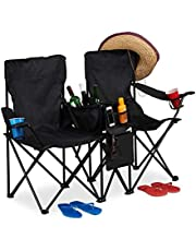 Relaxdays, zwarte campingstoel, draagbare dubbele klapstoel met bekerhouder, koeltas, opbergvakken, opvouwbaar