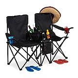 relaxdays Chaise de Camping Double, Fauteuil de Jardin 2, Pliable, Glacière, Rangement Porte-Boissons, Noir