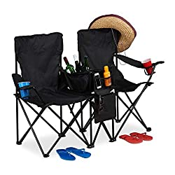 Double: Lean back and rest on this chair by the beach, on a camping trip or at a festival - In black Folding: This fishing seat can be set up and folded in no time - Compact storage Comfort: Double folding chair with 2 drink holders, cooler and 2 sto...