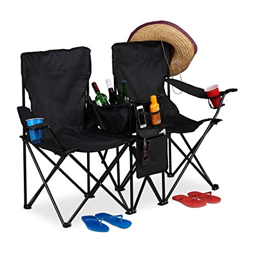 Relaxdays Double Camping Chair, Portable Fishing Seat with Drink Holders, Cooler, Pouches, Folding, Black, polyester, steel