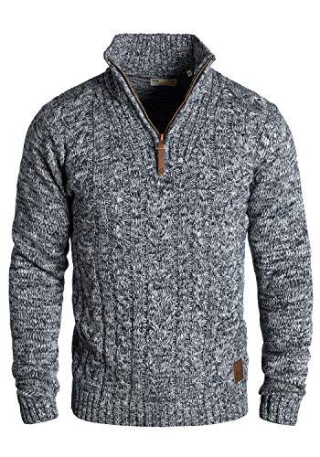!Solid Pankraz Herren Winter Pullover Strickpullover Troyer Grobstrick mit Zopfstrickmuster und Reißverschluss, Größe:L, Farbe:Insignia Blue (1991)