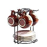 Gossip Boy - Soporte de alambre para organizar 6 platos o platillos y 6 tazas o tazas de café, juego de café