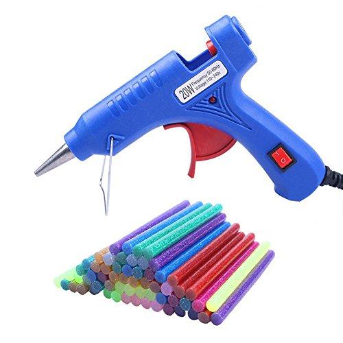 COCODE Hot Glue Gun with 60 Mini Glitter Hot Melt Glue Sticks 0.27 x 3.93 for Art Craft Project Holiday Decoration Cardboard Making DIY Repair